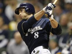 Ryan Braun watches his solo home run leave the yard in the Brewers' win over the Astros.