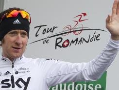 Britain's Bradley Wiggins became the overall leader at the 66th Tour de Romandie UCI ProTour cycling race in La Chaux-de-Fonds, Switzerland, on Wednesday.