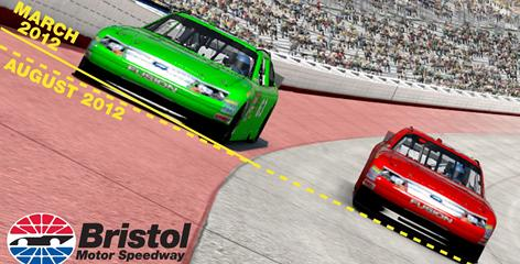 This illustration shows changes in the corner banking at Bristol Motor Speedway, as announced Wednesday.  The lines indicate where progressive banking is being removed.