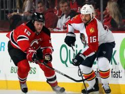 Alexei Ponikarovsky, left, and the New Jersey Devils will face Marco Sturm and the Florida Panthers in Game 7, Thursday in Sunrise, Fla.