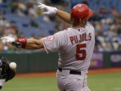 Albert Pujols finally got his first hit in an Angels uniform after suffering a 76 at-bat drought.