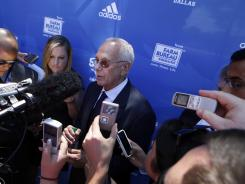 Larry Brown talks to reporters after his introduction as SMU men's basketball coach in Dallas on Monday.