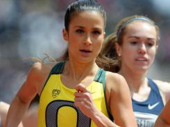 Alex Kosinski runs the second leg on the Oregon women's 6,000-meter relay at the Penn Relays in Philadelphia on Friday.