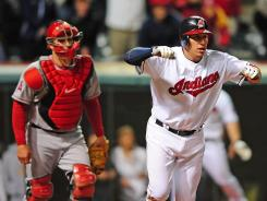Indians shortstop Asdrubal Cabrera celebrates after hitting the game-winning single in the bottom of the ninth inning against the Angels Friday night. The hit gave Cleveland the 3-2 win.