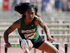 Poly's Traci Hicks won the individual hurdles race at Mt. SAC in 13.22 seconds, the fastest time by a prep this year.