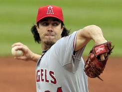 Los Angeles Angels starter Dan Haren pitched eight solid innings to earn his first victory of the season.