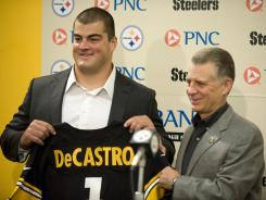 Steelers first-round pick David DeCastro and Pittsburgh president Art Rooney II.