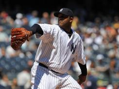 CC Sabathia pitched eight strong innings and allowed two hits in his start against the Tigers.