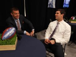 Coby Fleener, left, and Andrew Luck, right, were reunited in the green room at the NFL draft Thursday and later on the Colts when both were selected by the team.