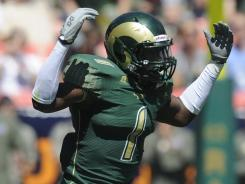 Colorado State linebacker Mike Orakpo, celebrating a sack in 2010, was a key part of last year's defense, racking up 87 tackles.