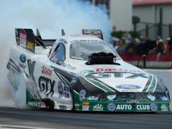 NHRA Funny Car driver Mike Neff won at the Spring Nationals at Royal Purple Raceway on Sunday in Baytown, Texas.