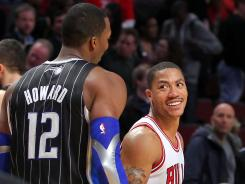 The NBA season-ending injuries to center Dwight Howard, left, and point guard Derrick Rose, right, also will hurt the USA at the Olympics this summer.