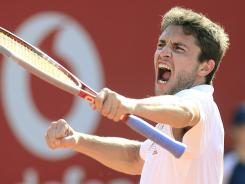 Gilles Simon of France celebrates his victory Sunday in the final of the BRD Nastase Tiriac Trophy in Bucharest, Romania. Simon defeated Fabio Fognini of Italy 6-4, 6-3.