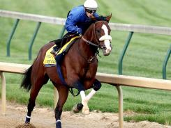 Union Rags, ridden by Julien Laparoux, during works this week in preparation for the 138th Kentucky Derby at Churchill Downs on Saturday.