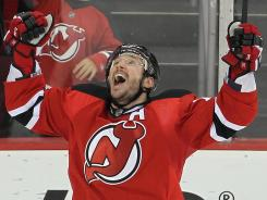 New Jersey Devils left wing Ilya Kovalchuk celebrates a first-round goal against the Florida Panthers.