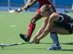 Katelyn Falgowski shoots to score the fifth goal against Cuba in a preliminary match during the Pan American Games in Guadalajara, Mexico, on Oct. 23, 2011.