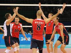The U.S. men's volleyball team went undefeated at the 2008 Beijing Olympics, upsetting top-ranked Brazil in the gold-medal match.