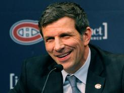 Marc Bergevin speaks during his introduction as the new general manager for the Montreal Canadiens.