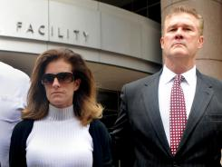 Amy Senser, left, at a Minneapolis courthouse with husband Joe Senser, was convicted of two criminal vehicular homicide charges Thursday and awaits sentencing.