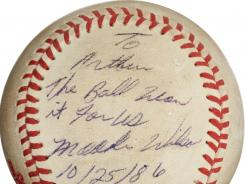 The baseball that dribbled between the legs of Boston Red Sox first baseman Bill Buckner during the 10th inning of Game 6 of the 1986 World Series.