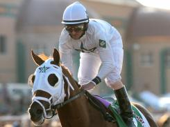 Jockey Robby Albarado, shown aboard Endorsement after winning the Sunland Derby in the 2010 photo, was arrested Friday on an assault charge and has lost his ride in the Kentucky Oaks.