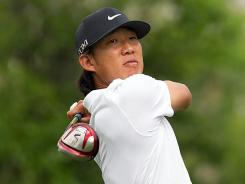 Anthony Kim, shown here at the Shell Houston Open, withdrew Friday from the Wells Fargo Championship because of a wrist injury.