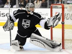 Los Angeles goalie Jonathan Quick made 18 saves in the Kings' 4-2 Game 3 win.