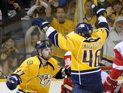 Nashville's Alexander Radulov celebrates after teammate Andrei Kostitsyn, right, scored against Detroit last month.