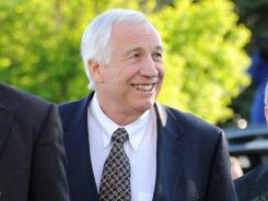 Jerry Sandusky, a former Penn State assistant football coach charged with sexually abusing boys, arrives aat Centre County Courthouse in Bellefonte, Pa., on April 5.