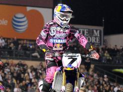 James Stewart competes at a Supercross race in February in Anaheim, Calif.