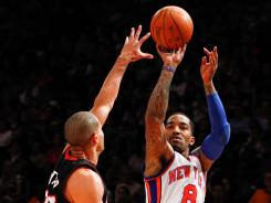 J.R. Smith, No. 8, got seven points vs. the Miami Heat on Sunday for the New York Knicks, whose scorers posted a numeric oddity.