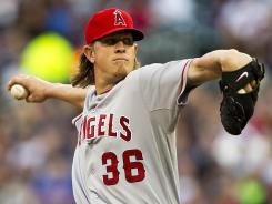 Jered Weaver's hitless streak ended, but he still led the Angels to their sixth win in eight games.