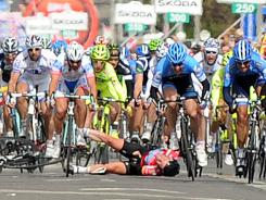 Mark Cavendish of Great Britain (bottom center) crashes during the third stage of the Giro d'Italia in Horsens, Denmark, on Monday. Matthew Goss of Australia won the third stage.