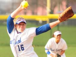 Despite pitching this season with a broken finger on her pitching hand, Coast Guard senior Hayley Feindel (shown in action last season) has become the career leader in Division III wins.