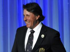 Phil Mickelson smiles during his induction Monday into the World Golf Hall of Fame in St. Augustine, Fla.