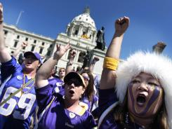 Minnesota fans rallied outside the state Capitol earlier in the day as the House continued to debate a stadium deal for the Vikings.