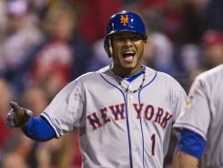 Jordany Valdespin celebrates his homer that gave the Mets their third consecutive win.
