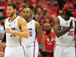 Los Angeles Clippers power forward Blake Griffin (32) reacts after drawing a foul against the Memphis Grizzlies during the first half of Game 4 on Monday night.