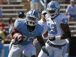 North Carolina running back Giovani Bernard carries the ball during the team's spring game last month.