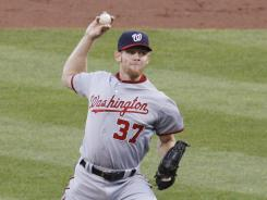 Nationals starter Stephen Strasburg mixed his sizzling fastball with a wicked breaking ball that kept the Pirates off balance for most of the night.