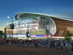 An artist's rendering of the new Minneapolis stadium proposed for the Vikings.