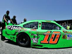 Danica Patrick's Sprint Cup car, the No. 10 Chevrolet, shows the &quot;Darlington stripe&quot; after her practice sessions Friday.