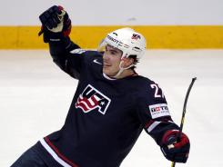 USA's Justin Falk jubilates after he scored the game winning goal on extra time during the Group H preliminary game against Kazakhstan in the 2012 IIHF Ice Hockey World Championships in Helsinki, Finland, on Friday.