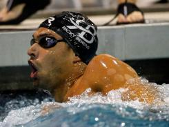 Ricky Berens reacts after winning the men's 200-meter freestyle final Friday at the Charlotte UltraSwim Grand Prix.