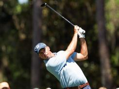 Matt Kuchar plays his tee shot on the sixth during the second round of The Players Championship.