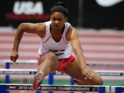 Trinity Wilson runs 8.25 in a 60-meter hurdle heat in the 2012 USA Indoor Championships at the Albuquerque Convention Center.