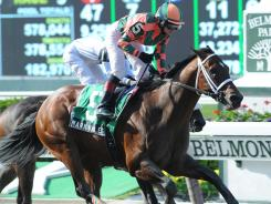 Mark Valeski, ridden by Rosie Napravnik, captured The Peter Pan Stakes at Belmont Park, in New York.