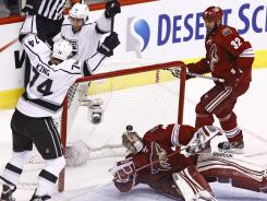 Los Angeles' Dwight King scores in the second period during Game 1. He later added an empty-netter.