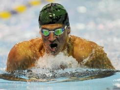 Ryan Lochte competes in the men's 200 individual medley during the prelims of the Charlotte UltraSwim Grand Prix on Sunday. Lochte won the race and set a meet record in the process.