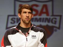 Michael Phelps speaks at a news conference at the Team USA Media Summit at the Hilton Anatole in Dallas on Sunday.